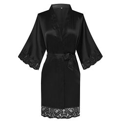 Old-to-new Women's Short Satin Solid-Colored Kimono Robe Bathrobe Silk Lightweight Sleepwe ...