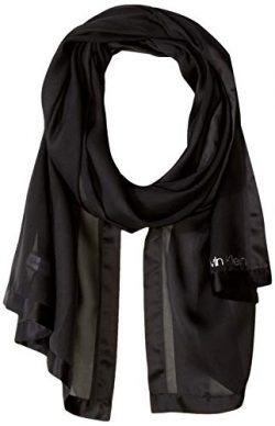 Calvin Klein Women's Satin Stripe Border Scarf, black, One Size