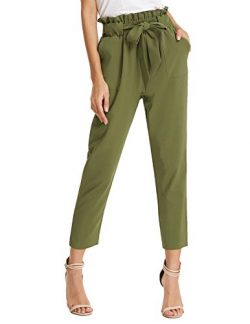 GRACE KARIN Women's Work Business Bodycon Long Pants with Belt S AF1011-3 Army Green