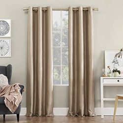 Sun Zero Bardot Dupioni Faux Silk 100% Blackout Grommet Curtain Panel, 40″ x 95″, Oa ...