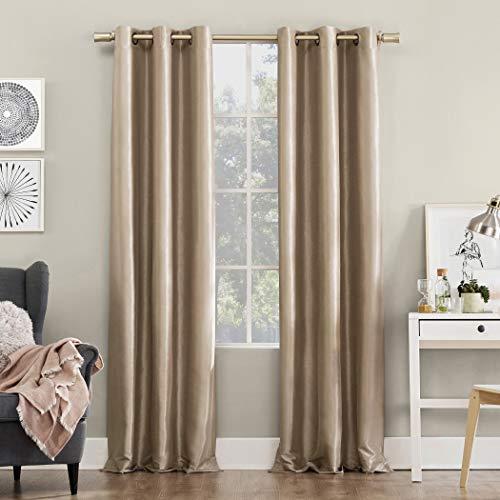 Sun Zero Bardot Dupioni Faux Silk 100% Blackout Grommet Curtain Panel, 40″ x 95″, Oa ...