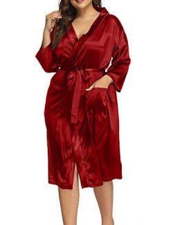 Allegrace Women's Plus Size Robes Sexy Satin Pajamas Wrap Sleepwear Pocket Long Kimino Rob ...