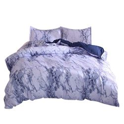 COLNER Set of 3 Simple Marble Bedding Elegant EU Double Sets Duvet Pillowcase Cover for Comforta ...