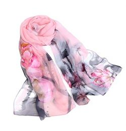 Print Silk Feeling Scarf Fashion Scarves Lightweight Shawl Scarf Sunscreen Shawls for Womens (In ...