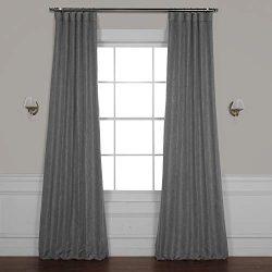 HPD HALF PRICE DRAPES BOCH-LN18513-96 Faux Linen Blackout Room Darkening Curtain 50 X 96,Blazer Grey