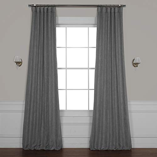 HPD HALF PRICE DRAPES BOCH-LN18513-96 Faux Linen Blackout Room Darkening Curtain 50 X 96,Blazer Grey