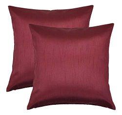 Aiking Home 18×18 Inches Faux Silk Square Throw Pillow Cover, Zipper Closure, Burgundy (Set ...