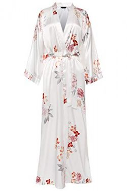 BABEYOND Floral Kimono Robe Satin Silk Wedding Robe Nightgown Sleepwear 53″ Long (Flower-W ...