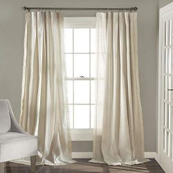 Lush Decor Rosalie Window Curtains Farmhouse, Rustic Style Panel Set for Living, Dining Room, Be ...