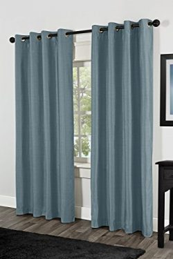 LuxuryDiscounts 2 Piece Solid Slate Blue Faux Silk Grommet Window Curtain Treatment Panel Drapes ...