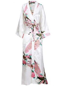 BABEYOND Women's Kimono Robe Long Robes with Peacock and Blossoms Printed Kimono Outfit (W ...