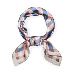 SOJOS Silk Like Plaid Women Scarf Square Satin Headscarf Hair Scarf 27″ SC330 with Blue an ...