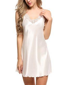 Ekouaer Sleepwear Women's Sexy Lingerie Satin Lace Chemise Nightgown Loungewear S-XXL White