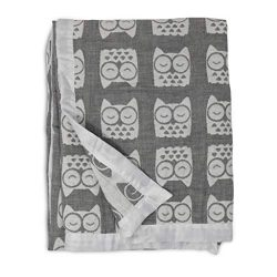 Living Textiles Muslin Textured Grey Owl Baby Blanket