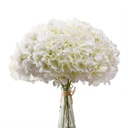 Aviviho White Hydrangea Silk Flowers Heads Pack of 10 Ivory White Full Hydrangea Flowers Artific ...