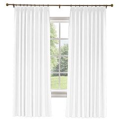 ChadMade Extra Wide Curtain Panels 100″ W x 96″ L Polyester Linen Drapes with Blacko ...