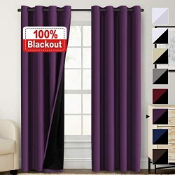 100% Blackout Curtains for Living Room Faux Silk Double Layer Curtains Room Darkening Thermal In ...