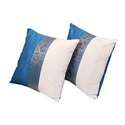 THE ART BOX Indian Cushion Cover Home Décor Indian Ethnic Throw Pillow Covers for Décor (Blue an ...