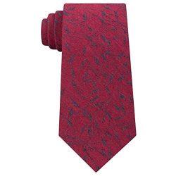 Calvin Klein Mens Bamboo Printed Silk Neck Tie Red O/S