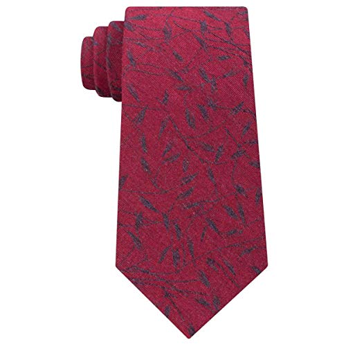 Calvin Klein Mens Bamboo Printed Silk Neck Tie Red O/S