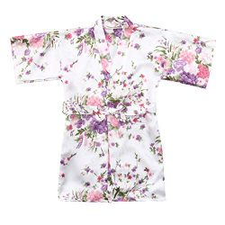 MOMKER Children Girls Silk Robes Satin Robe Short Floral Peacock Japan Kimono Stain Sleepwear White