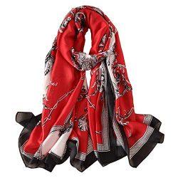 YMXHHB Silk Scarf 100% Mulberry Silk Fashion Scarves Long Lightweight Shawl Wrap (6710 Red)