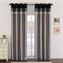 Jarl home 95% Grey Blackout Curtains for Bedroom Stitching Luxury Faux Silk Curtain with Darkeni ...