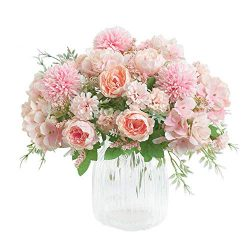 KIRIFLY Artificial Flowers, Fake Peony Silk Hydrangea Bouquet Decor Plastic Carnations Realistic ...