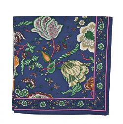 Tory Burch Women's Happy Times Blue Silk Square Scarf Neckerchief