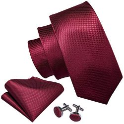 Barry.Wang Wedding Groomsmen Ties Burgundy Handkerchief Cufflink Set