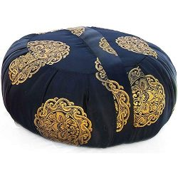 Taraluna Zen Zafu Sitting or Meditation Cushion with Silk Brocade Cover (Black/Gold)