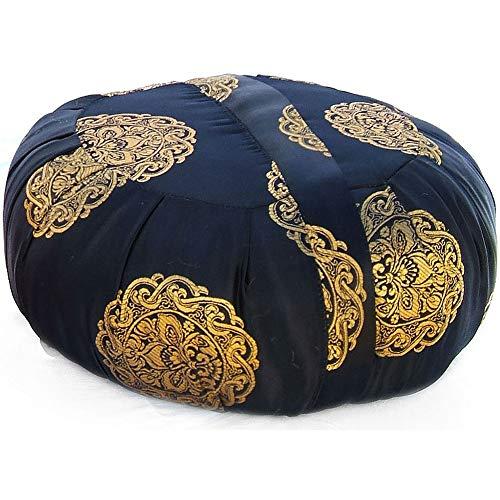 Taraluna Zen Zafu Sitting or Meditation Cushion with Silk Brocade Cover (Black/Gold)