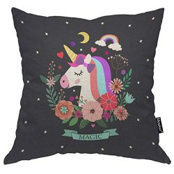 Moslion Unicorn Pillow Home Decor Throw Pillow Cover Case Unicorn and Magic Satin Cushion Cover  ...