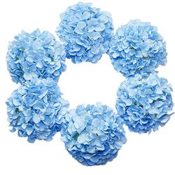 DuHouse Artificial Bigger Silk Hydrangea Flower Heads with Stem Fake Blue Hydrangea Flowers for  ...