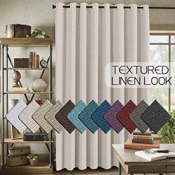 H.VERSAILTEX Wide Blackout Room Darkening Rich Quality of Textured Linen Patio Door Curtains Hom ...