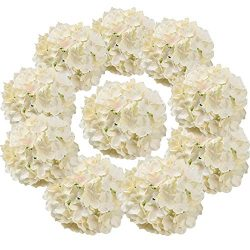 Flojery Silk Hydrangea Heads Artificial Flowers Heads with Stems for Home Wedding Decor,Pack of  ...