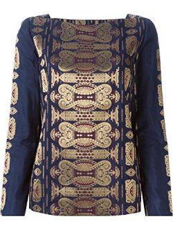 Tory Burch Jacquard Cotton/Silk Tunic, Navy Blue/Metallic Gold – 2 XSmall