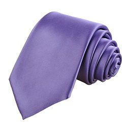 KissTies Lavender Tie Solid Necktie Satin Wedding Ties + Gift Box