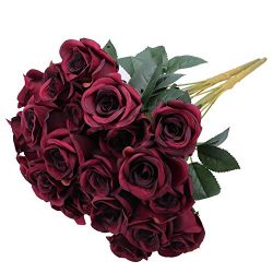 Greentime Artificial Flowers 16 Inches Artificial Silk Rose Bouquet 12 Heads Vintage Rose for We ...