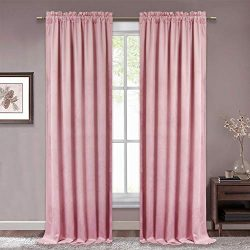 RYB HOME Velvet Curtain Panels Privacy Protected Heat Insulated Rod Pocket High Ceiling Window D ...