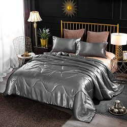Enman-home Holawakaka Luxurious Solid Satin Silk Like Comforter Set Ultra Soft Silky Quilt Breat ...