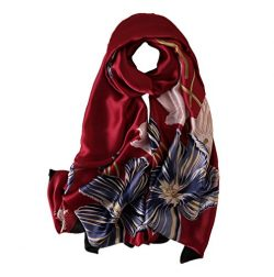 100% Silk Scarf – Women's Fashion Large Sunscreen Shawls Wraps – Lightweight F ...