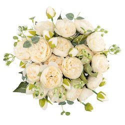 crazylove Silk Peony Artificial Flowers Bouquet Small Pieces Design for Home Wedding Decoration  ...