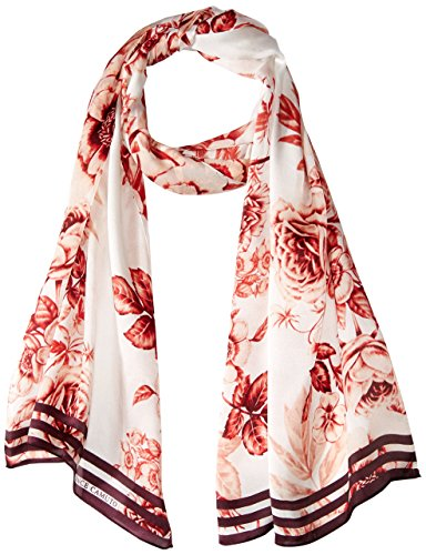 Vince Camuto Women's Toile Flowear Silk Oblong Scarf, red, One Size