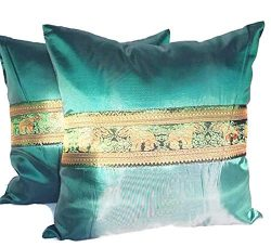 PunPund Thai Silk Elephant 2 Cushion Covers Pillow Case Throw Home Sofa Emerald Green 18 X 18 Inches