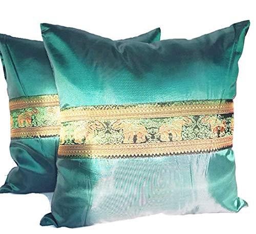 PunPund Thai Silk Elephant 2 Cushion Covers Pillow Case Throw Home Sofa Emerald Green 18 X 18 Inches
