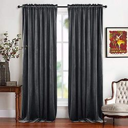 RYB HOME Velvet Bedroom Curtains – Soft Window Covering Thermal Insulated Half Blackout Te ...