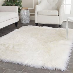 Safavieh Faux Silky Sheepskin FSS235A Ivory Area Shag Rug (4′ x 6′)