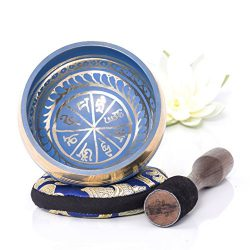 Silent Mind ~ Tibetan Singing Bowl Set ~ Blue Color Design ~ With Dual Surface Mallet and Silk C ...