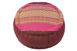 Kapok Dreams TM Zafu Round Meditation Cushion 100%, Burgundy Pink Thai Design Pillow